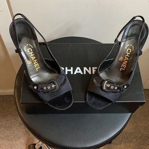 CHANEL Satin Buckle Slingback Sandals Size 36.5